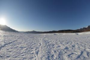 雪の道 五の沢へ向かう帰り道